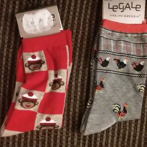 NWT Silly Legale Socks Sock Monkey & Rooster